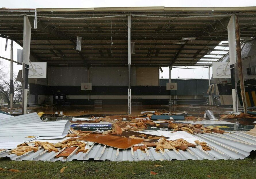 The Rockport-Fulton High School gym shows extensive damage in the aftermath of Hurricane Harvey in Rockport, Texas on Saturday, Aug. 26, 2017. (Kin Man Hui/San Antonio Express-News)